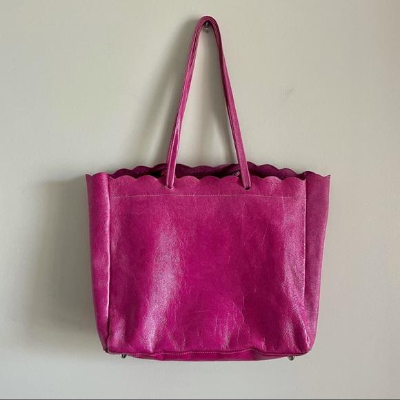 Pulicati Hot Pink Italian Leather Tote Bag